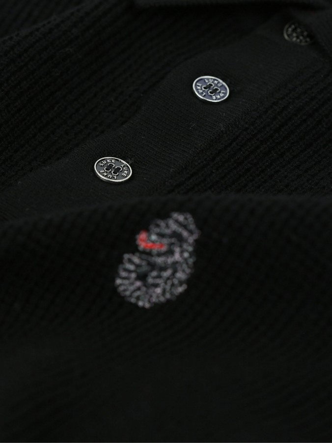 SWANNY THE MOD L/S WAFFLE KNIT POLO
