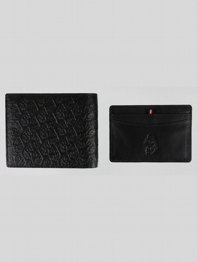 LESTER EMBOSSED WALLET AND CARD HOLDER SET