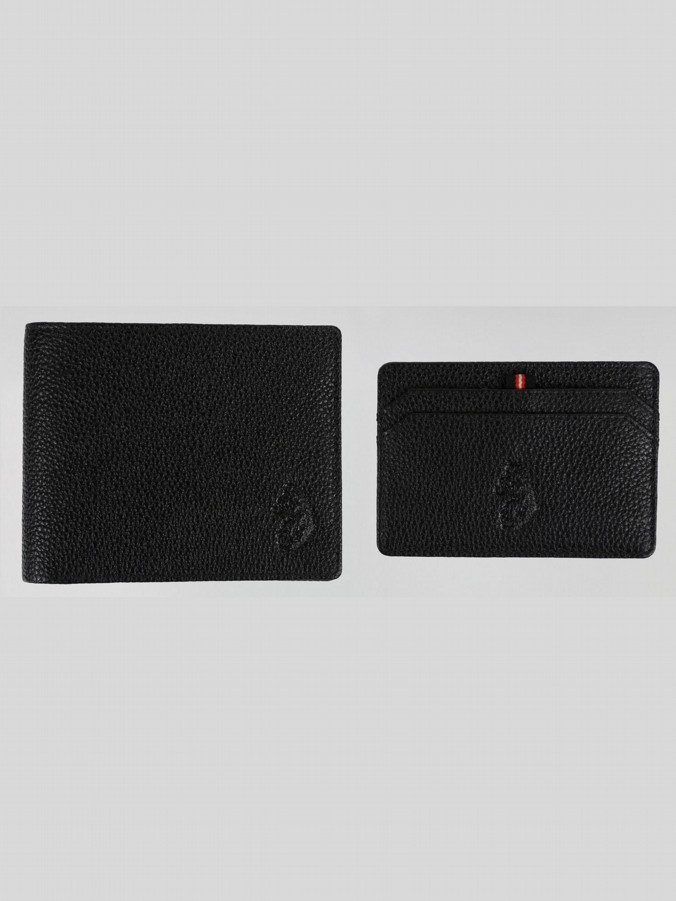 MEERS TEXTURED LEATHER WALLET AND CARD HOLDER SET