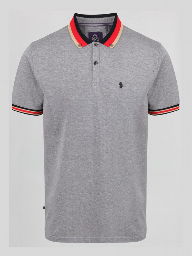 PERCYVILLE STRIPED COLLAR DETAIL POLO