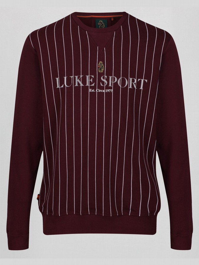 MORTIMER CLARET AND BLUE VERTICAL STRIPE CREW SWEAT