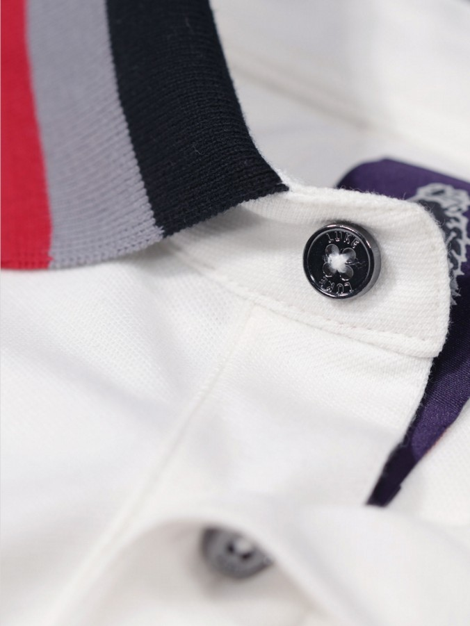 PEWTERVILLE STRIPED COLLAR DETAIL POLO