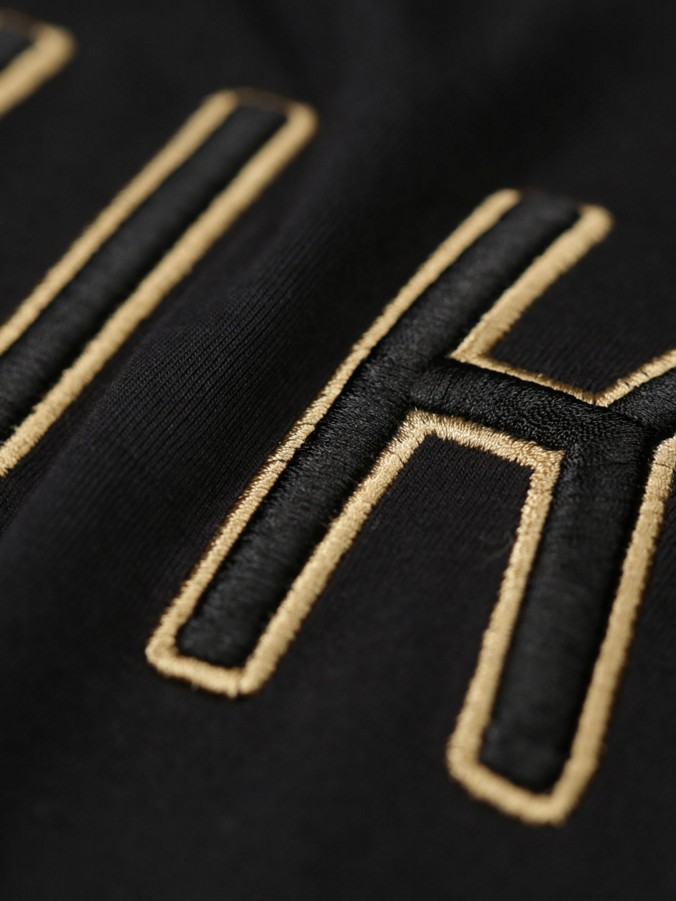 14 CARAT GOLD EMBROIDERY DETAIL JERSEY CREW