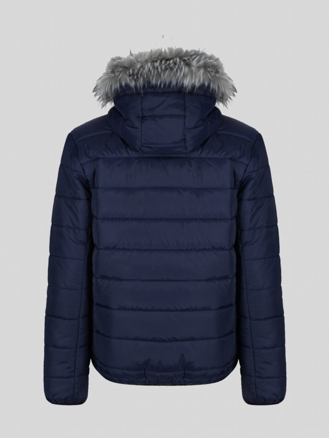 SOUTH FAR QUILTED FAUX FUR HOODED JACKET