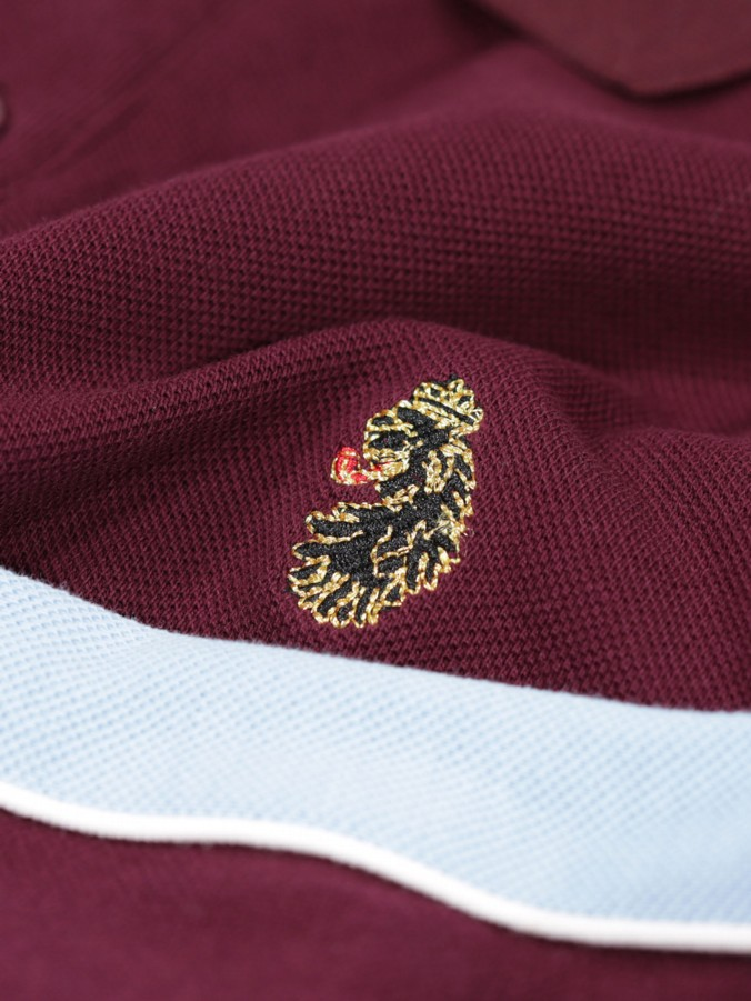 LONG CHANT CLARET & BLUE COLOUR BLOCK L/S POLO