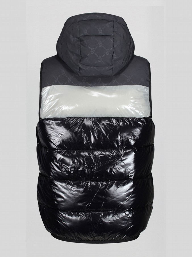 STOKES 2 HOODED OVERPRINT QUILTED GILET