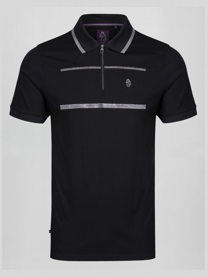 GOBLET PEWTER EMBROIDERY STRIPE ZIP NECK POLO