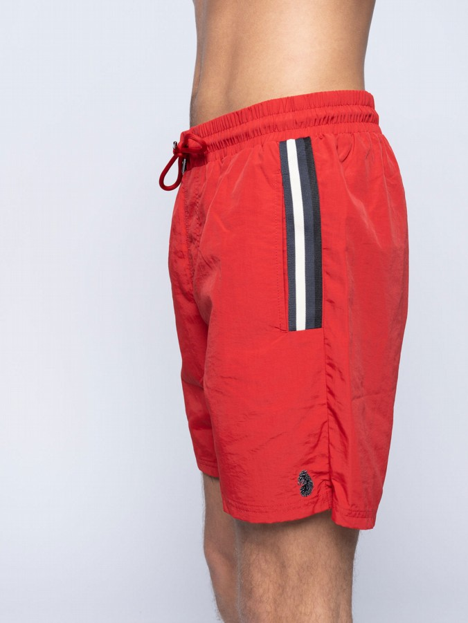 CAEN STRIPED DETAIL SWIM SHORT
