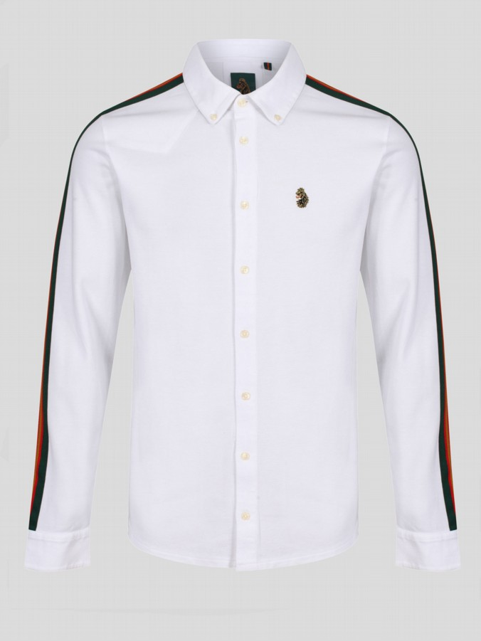 PIQUE CLUB L/S LUKE SPORT TAPE DETAIL SHIRT
