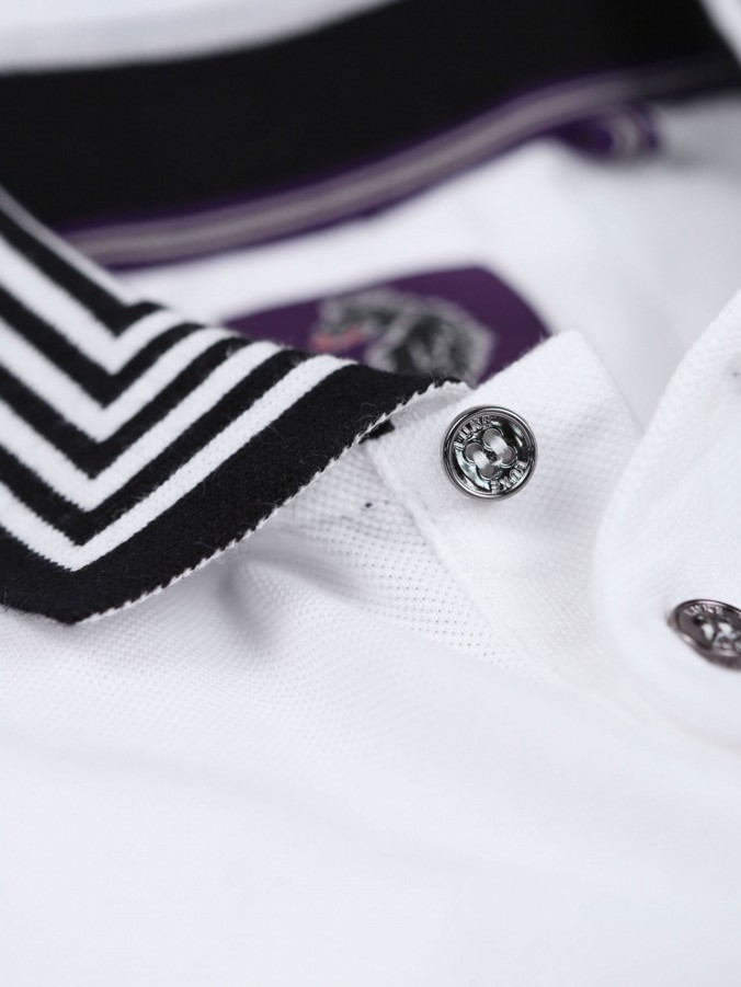 ROUND THE CORNER 90 DEGREE STRIPED COLLAR POLO