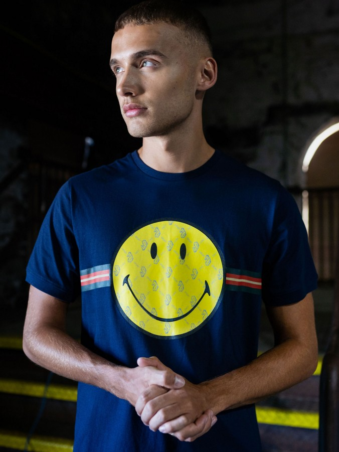 HAPPY DAYS LUKE X SMILEY SPORT TRIM PRINTED T-SHIRT