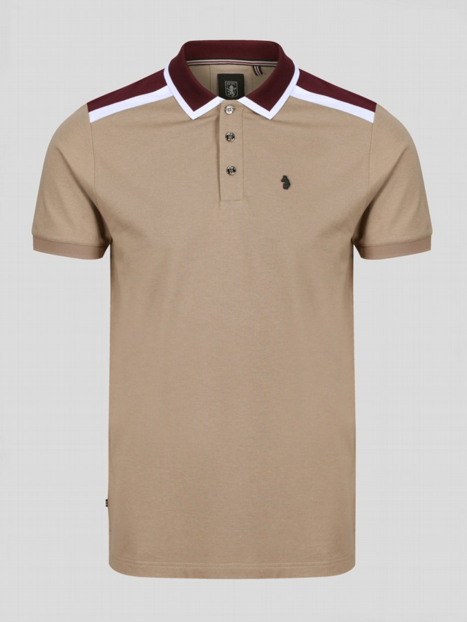 Luke 1977 Sharkey Contrast Chest Panel Mid Grey Polo Shirt Collared Top for Men