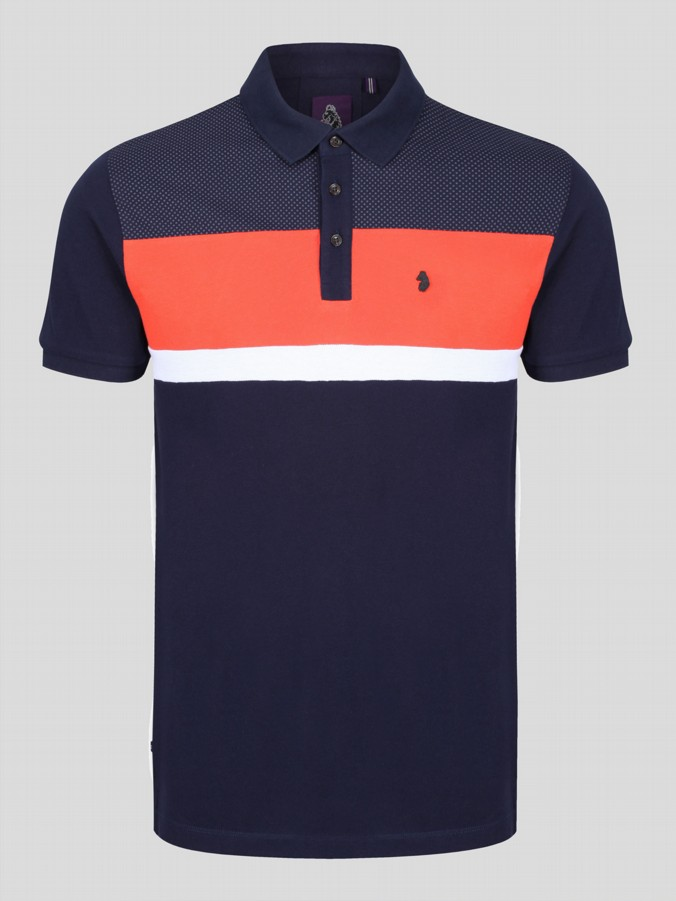 SCOTT HAYWARD MIXED FABRIC POLO